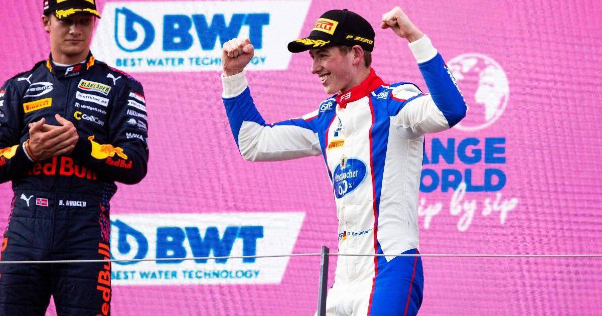 David Schumacher celebrates his Formula 3 race victory in Austria