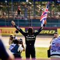 Lewis Hamilton celebrates British GP