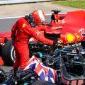 Charles Leclerc congratulates Lewis Hamilton