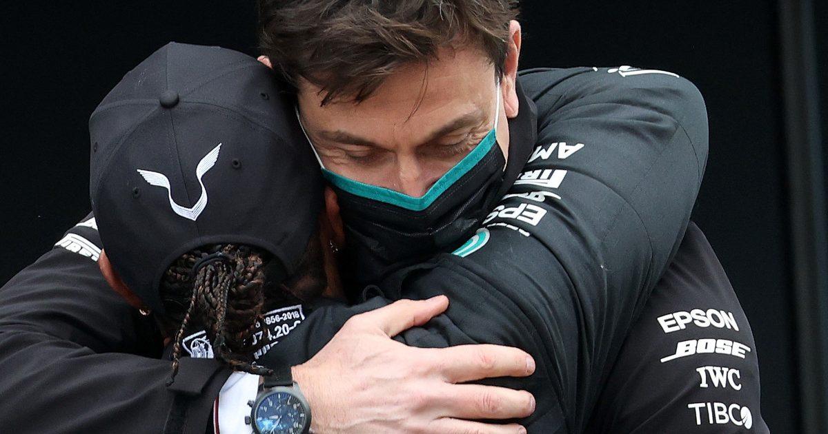Lewis Hamilton hugs Toto Wolff
