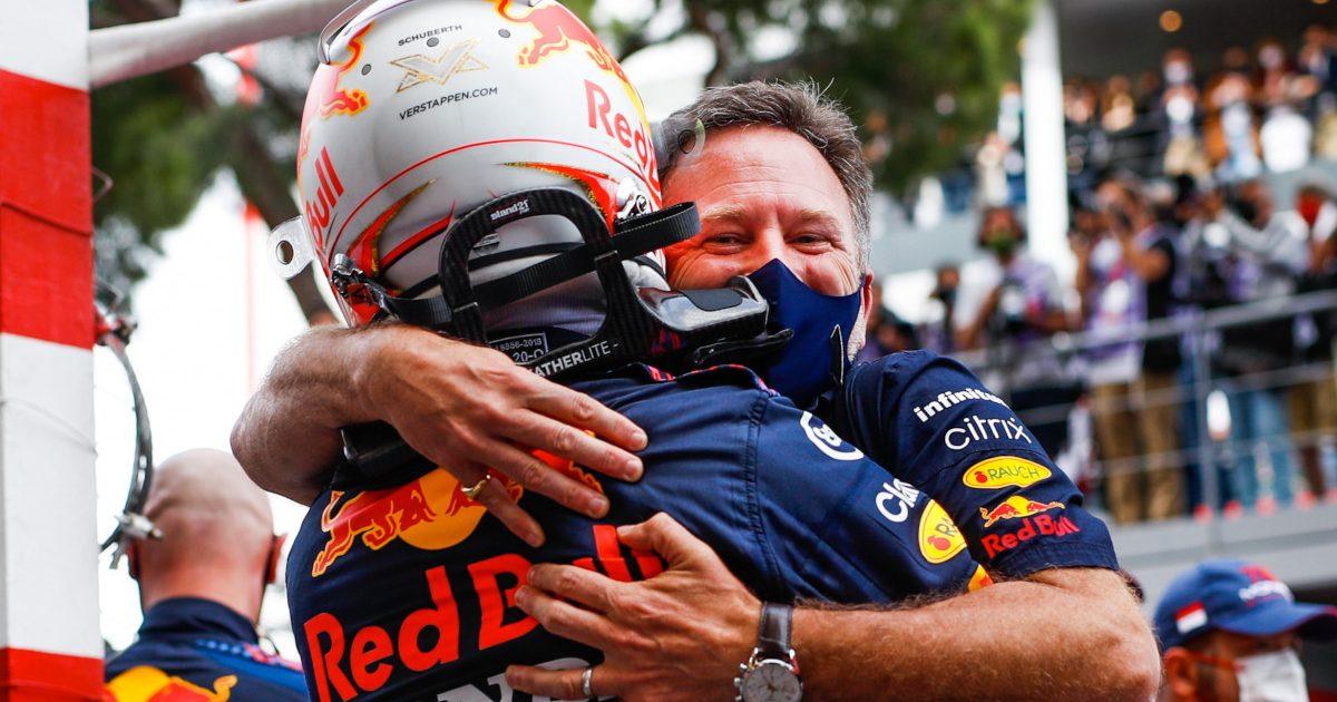 Christian Horner hugs Max Verstappen