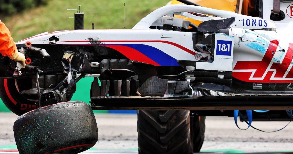 Mick Schumacher's crashed Haas, FP3 Hungarian Grand Prix