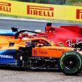 Lando Norris. McLaren, Charles Leclerc, Ferrari, after 2021 Hungarian Grand Prix melee