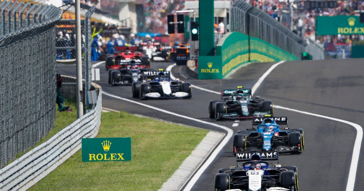 George Russell leads leaving pits Hungary