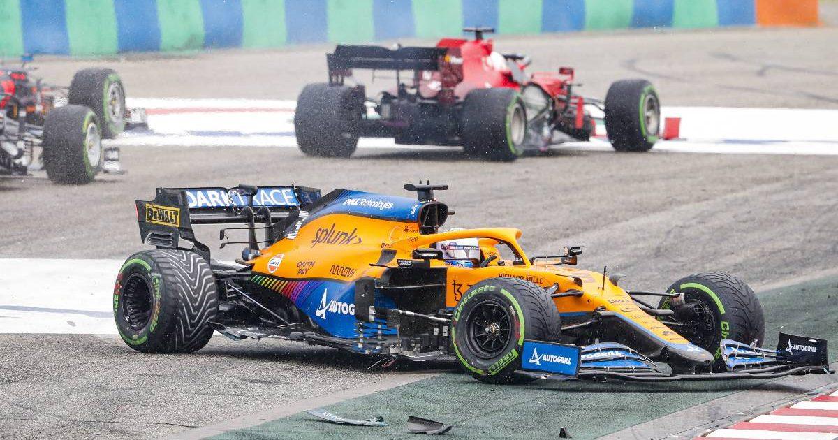 Daniel Ricciardo, McLaren, after the first corner crash during the 2021 Hungarian Grand Prix