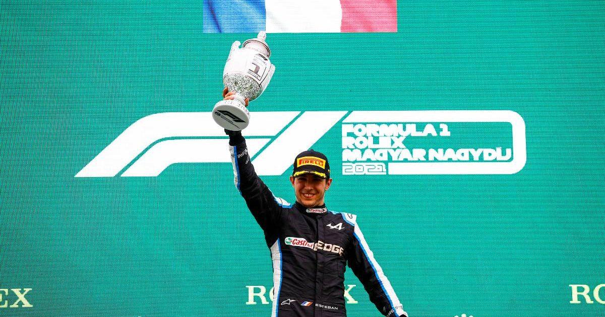Esteban Ocon on the podium. Hungarian Grand Prix August 2021.