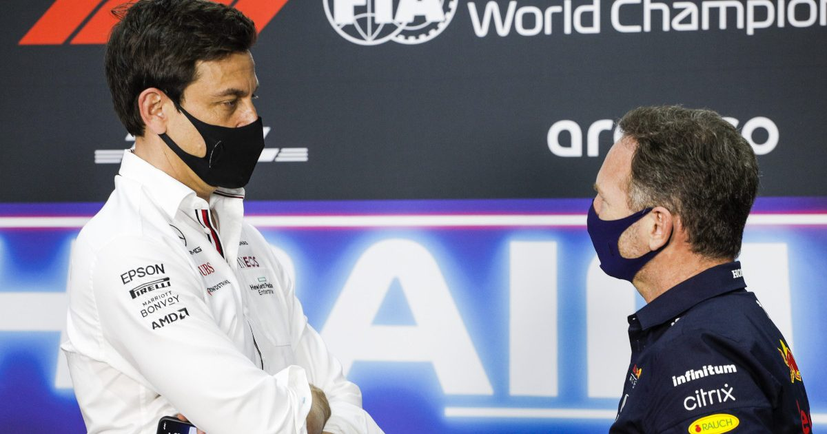 Mercedes boss Toto Wolff and Red Bull's Christian Horner face off. Bahrain Grand Prix 2021