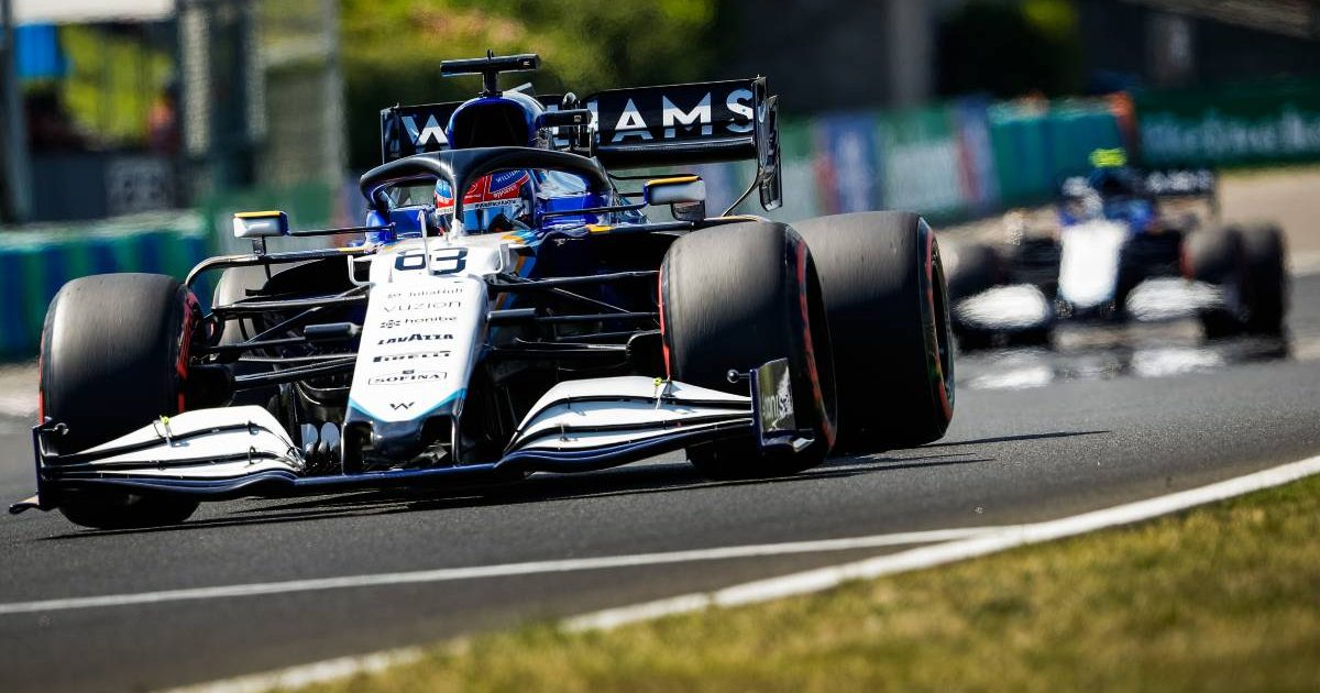 George Russell and Nicholas Latifi in action for Williams. Hungary August 2021