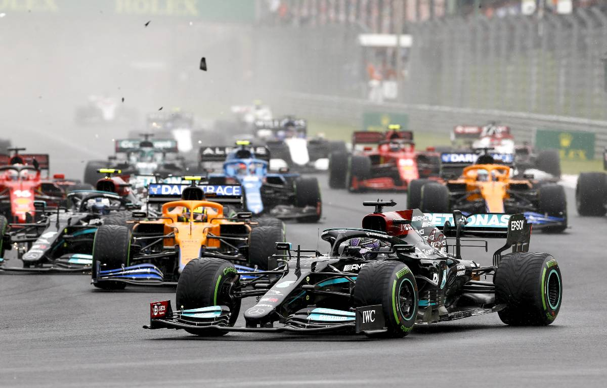 Contact at the start of the Hungarian Grand Prix, August 2021.