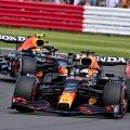 Red Bull's Max Verstappen and Sergio Perez, British Grand Prix. Silverstone 2021.