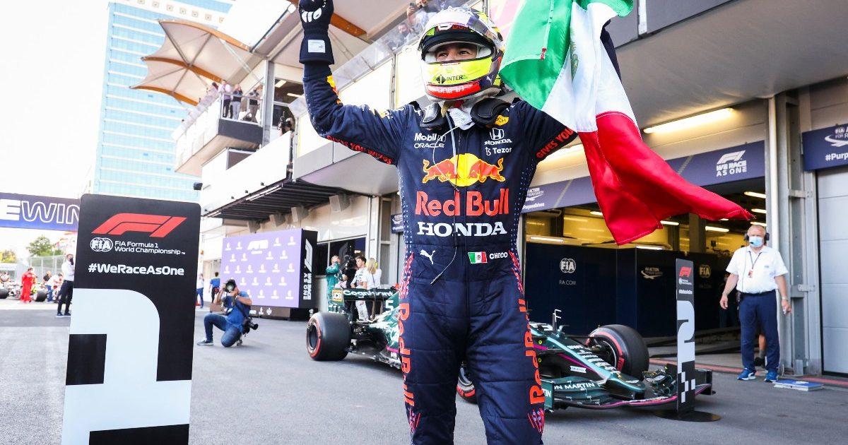 Sergio Perez celebrates. Azerbaijan June 2021