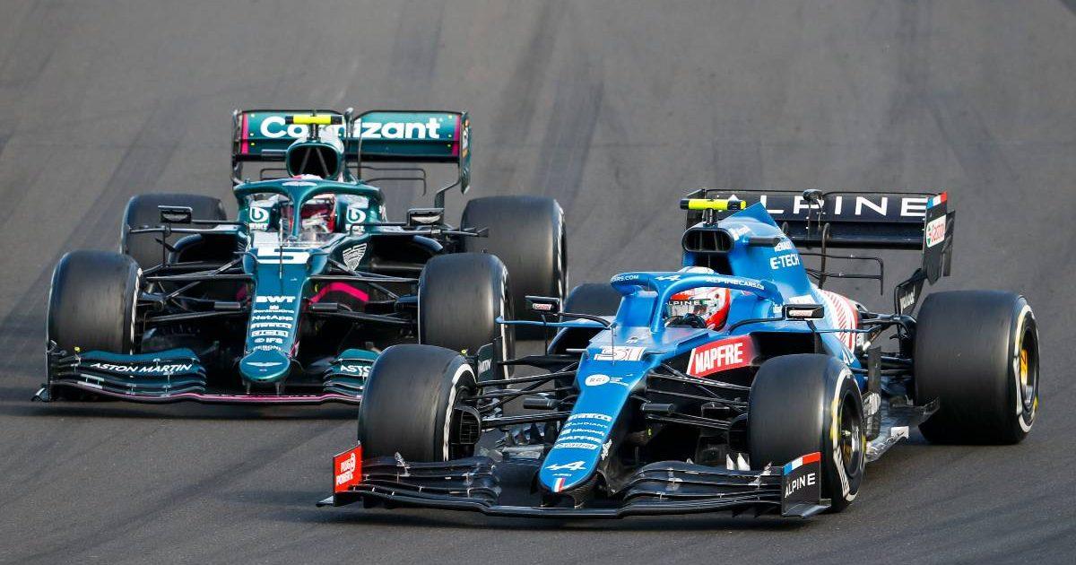 Esteban Ocon and Sebastian Vettel during the Hungarian Grand Prix. Budapest August 2021.