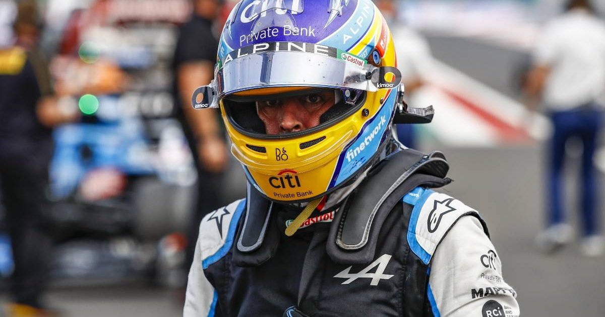 Fernando Alonso in the Hungarian GP paddock. August 2021.