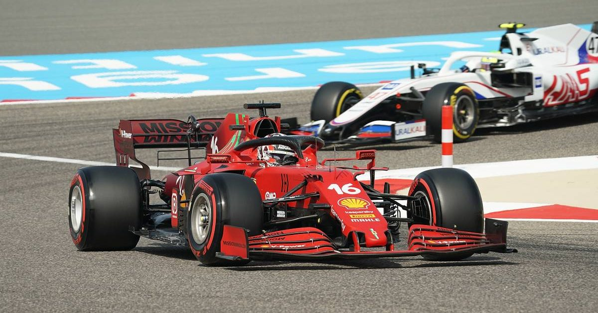 Ferrari's Charles Leclerc during free practice for the Bahrain GP. Sakhir March 2021.