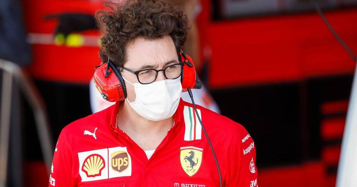 Mattia Binotto looking out from the Ferrari garage. Britain, July 2021.