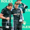 Esteban Ocon and Laurent Rossi celebrate winning the 2021 Hungarian GP