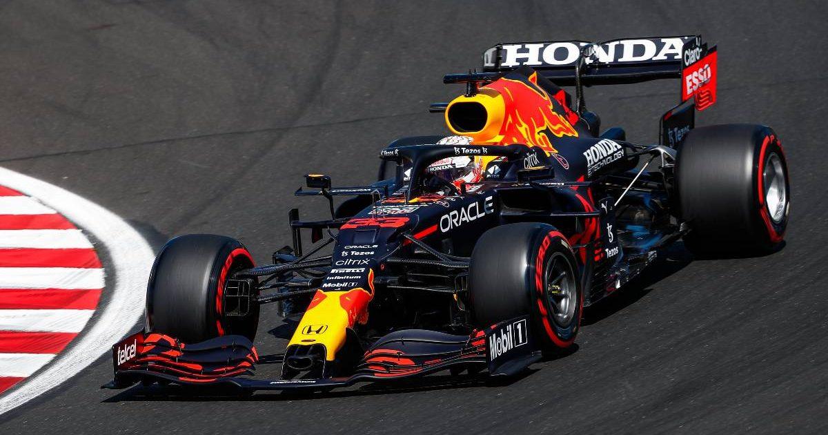 Max Verstappen driving the Red Bull Honda. Hungary, July 2021.
