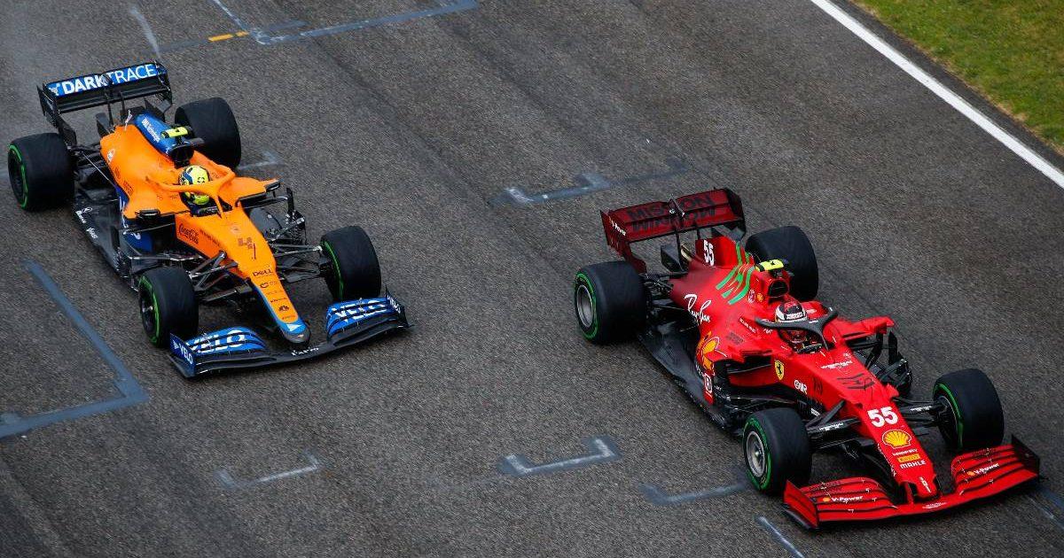 Lando Norris races Carlos Sainz at the Emilia Romagna Grand Prix. Imola April 2021.
