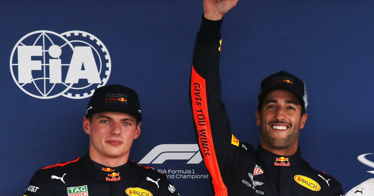 Daniel Ricciardo and Max Verstappen after Mexican Grand Prix qualifying. Mexico October 2018