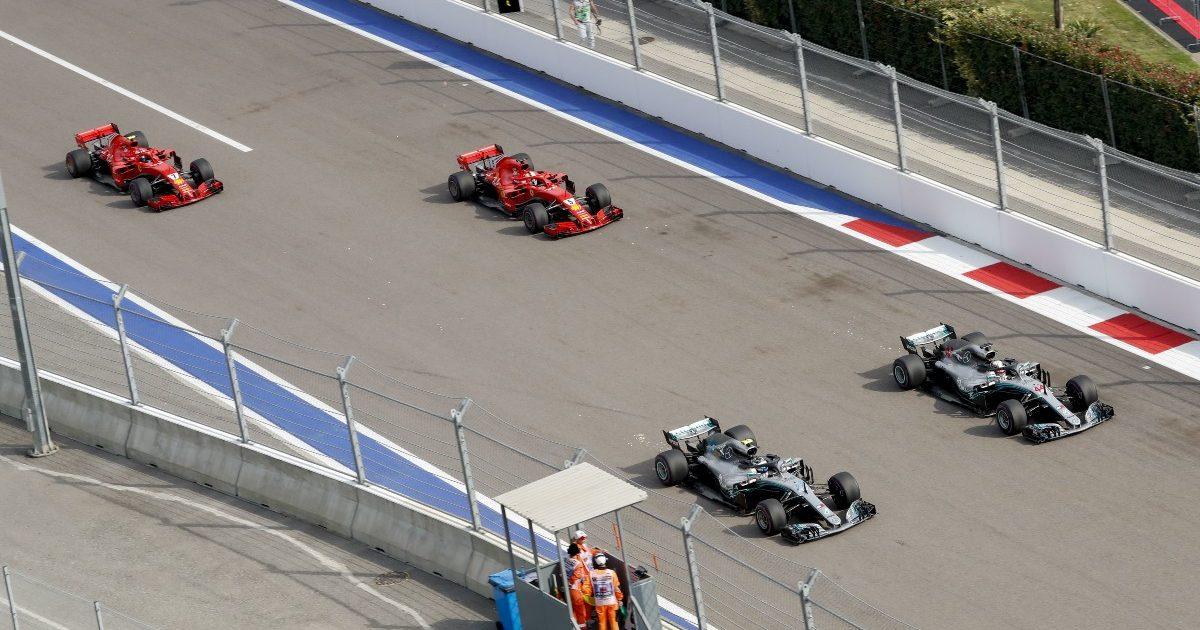 Ferrari cars follow Mercedes cars. Russia September 2018