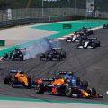 Formula 1 cars during the Portuguese Grand Prix. Portimao May 2021.