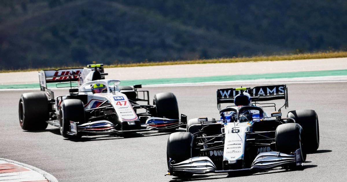 Nicholas Latifi (Williams) and Mick Schumacher (Haas), Portuguese Grand Prix. Portimao May 2021.
