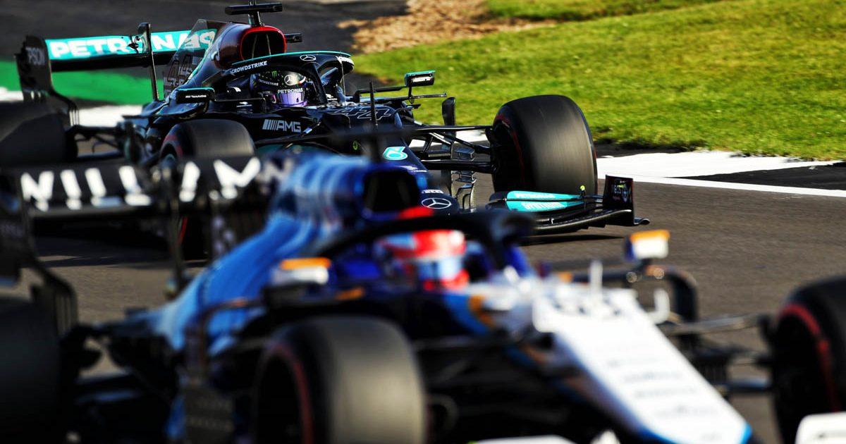 George Russell, Lewis Hamilton, British GP, July 2021.