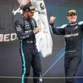 Esteban Ocon and Lewis Hamilton on the podium of the Hungarian GP, August 2021.