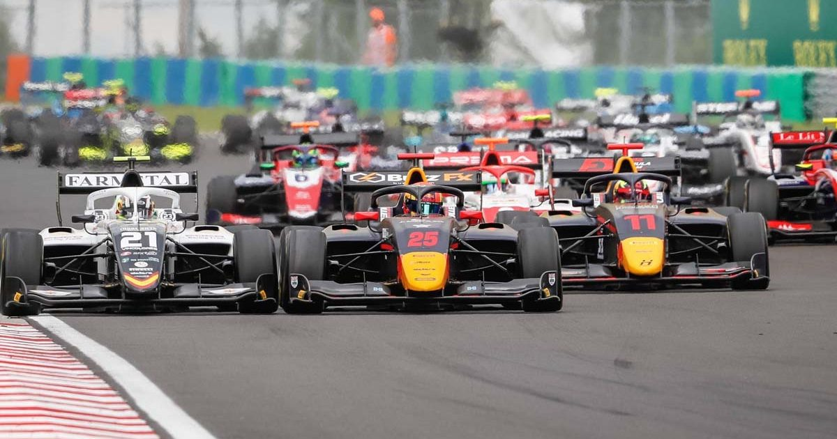 Formula 3 drivers racing in Hungary. August 2021.