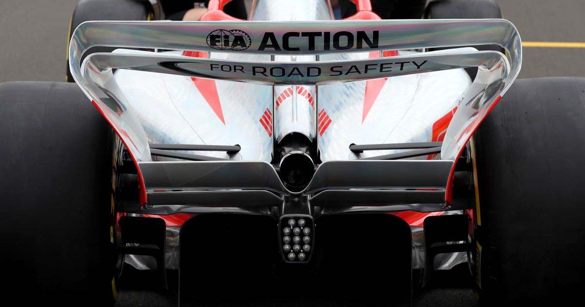 2022 Formula 1 car rear view.