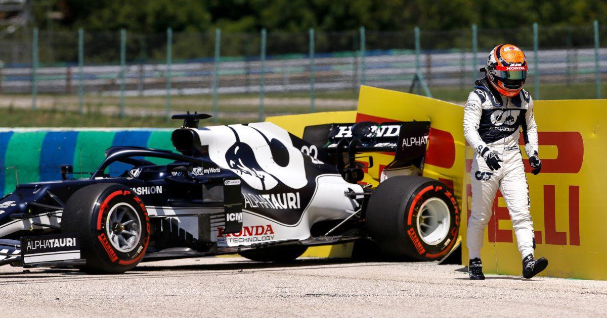 Yuki Tsunoda crashes his AlphaTauri in FP1 at the Hungarian GP. Yuki Tsunoda crashes his AlphaTauri