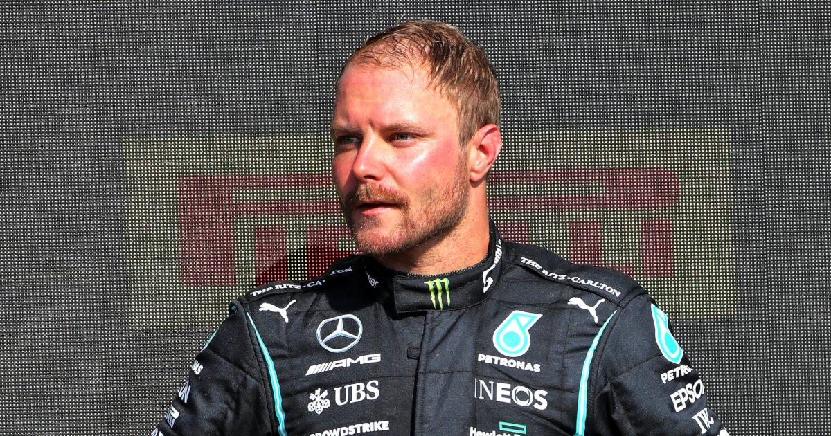 Valtteri Bottas on the podium P3 British GP. Silverstone July 2021.
