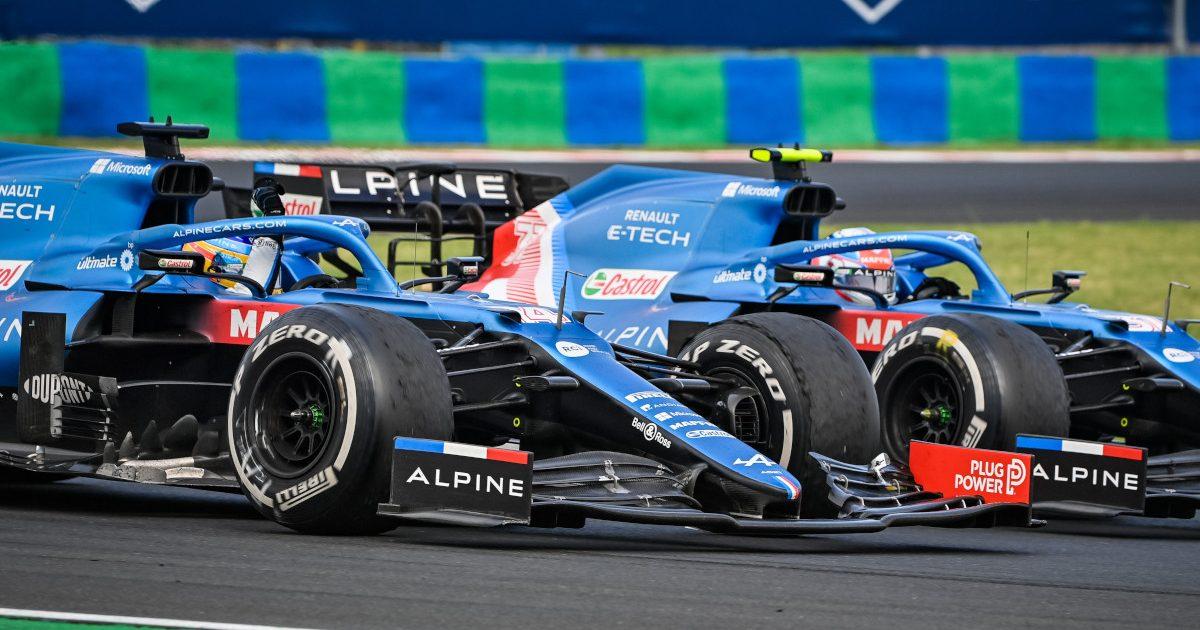 Fernando Alonso salutes Esteban Ocon. Hungary August 2021.