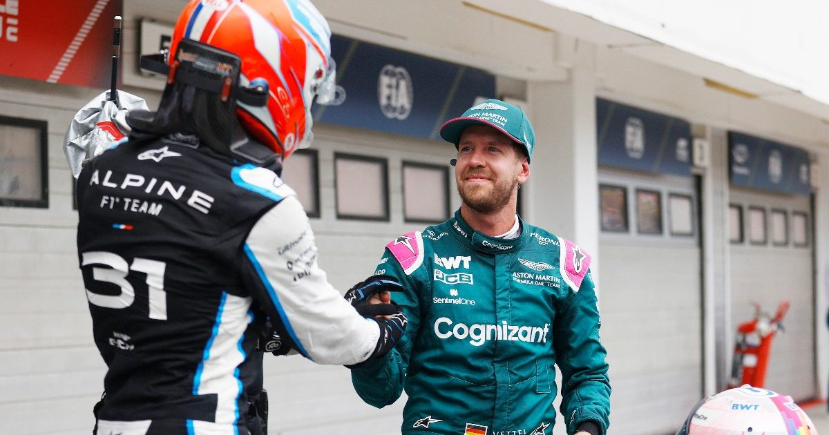 Esteban Ocon and Sebastian Vettel at the Hungarian Grand Prix. Hungary August 2021