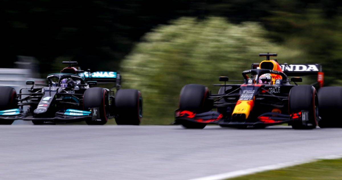 Max Verstappen alongside Lewis Hamilton, Styrian Grand Prix. Austria 2021.