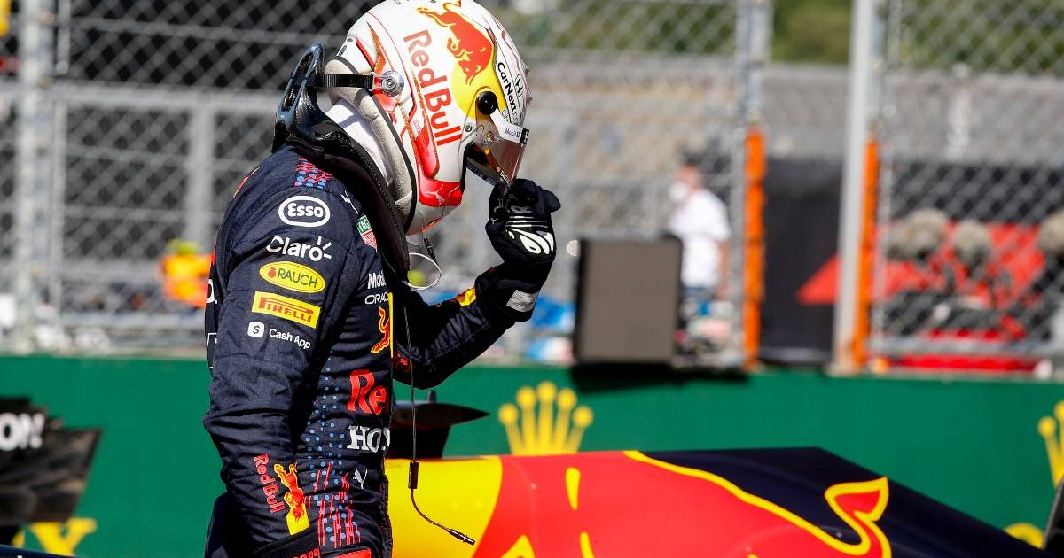 Max Verstappen by his Red Bull RB16B at the Hungarian Grand Prix. July, 2021.