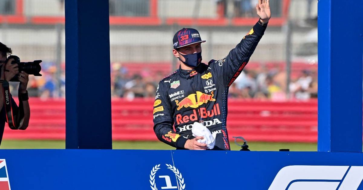 Max Verstappen waves to the Silvestone crowd. July, 2021.