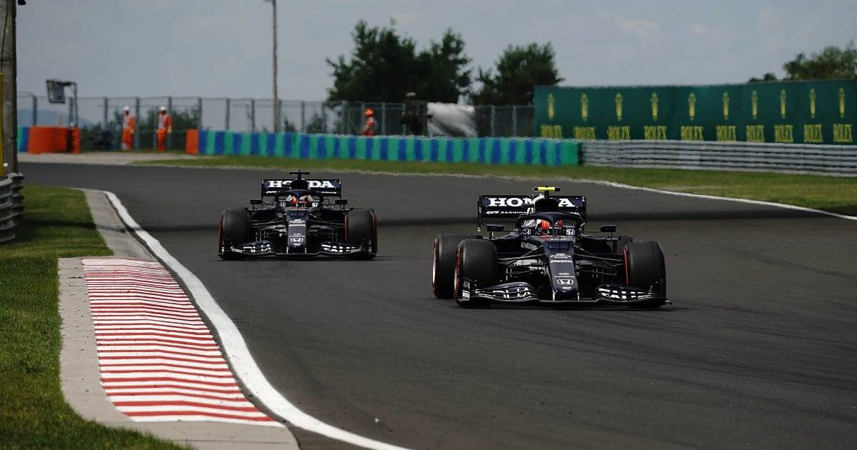 Pierre Gasly followed by Yuki Tsunoda on Hungarian Grand Prix qualifying day. Hungaroring July 2021.