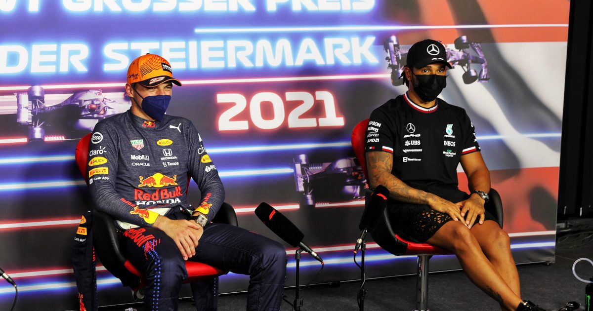 Max Verstappen and Lewis Hamilton at the post-race press conference. Austria June 2021.