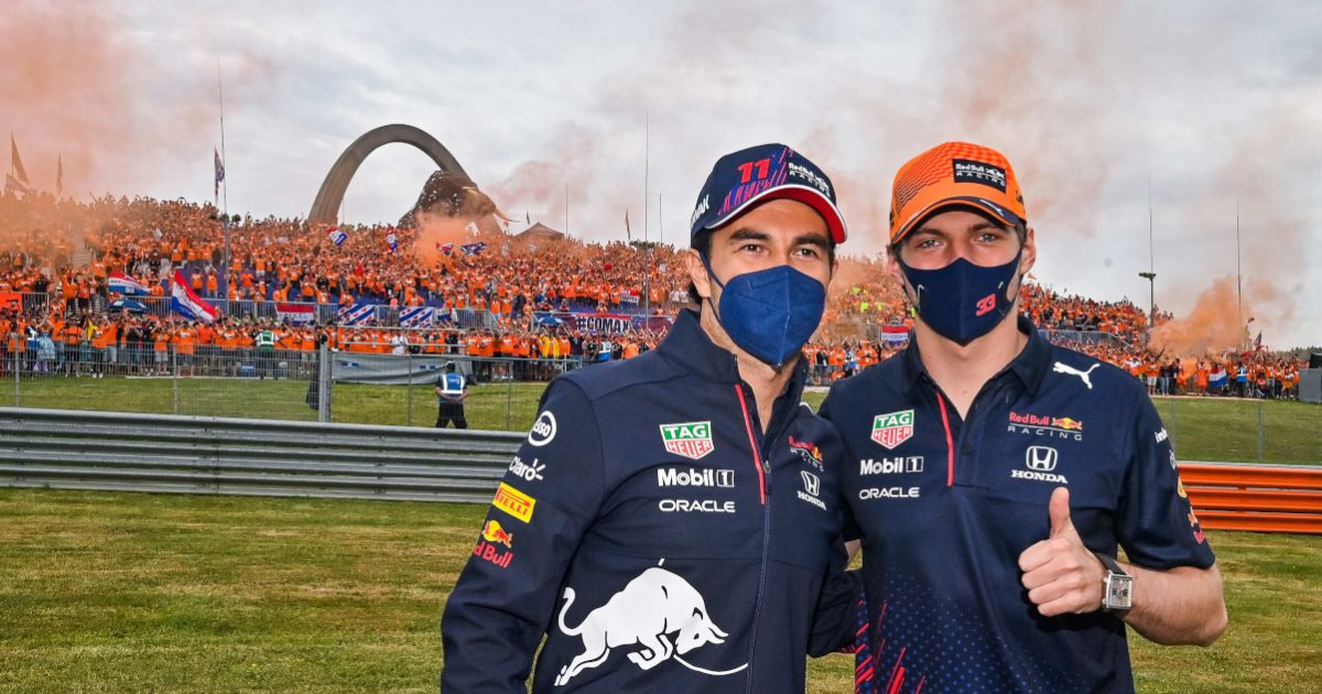 Max Verstappen thumbs up with Sergio Perez and fans. Austria July 2021.