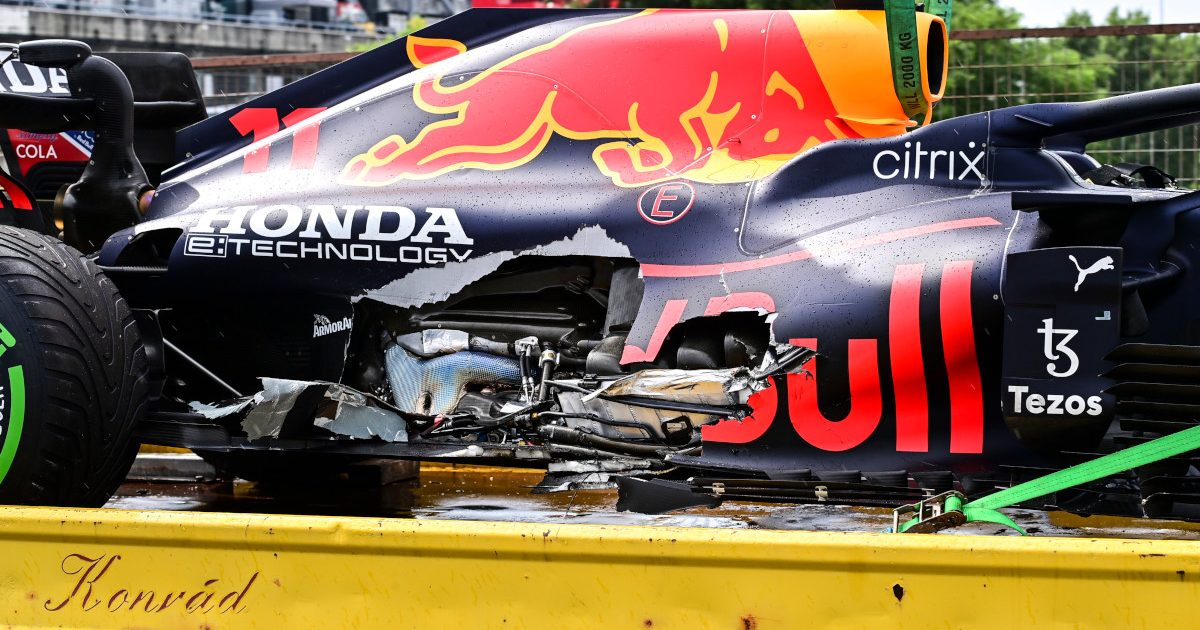 Sergio Perez's damaged Red Bull RB16B. Hungary August 2021.