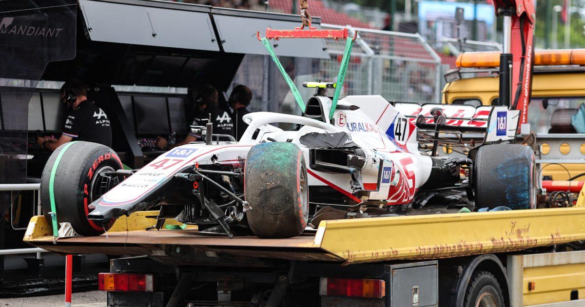 Mick Schumacher's damaged Haas. Hungary July 2021.