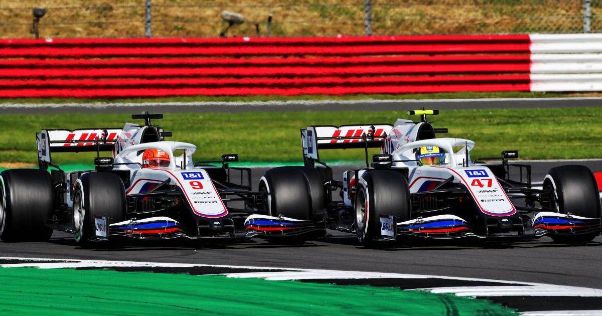 Haas driver Nikita Mazepin alongside Mick Schumacher in the British GP. Silverstone July 2021.