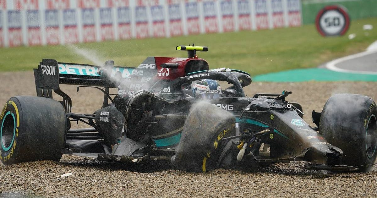 Valtteri Bottas in his Mercedes after crashing in the Emilia Romagna GP. Imola April 2021.