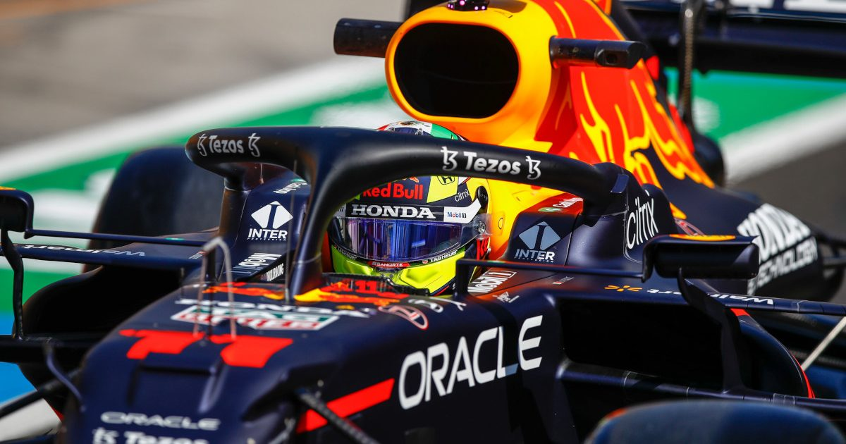 Sergio Perez drives his Red Bull. Hungary July 2021