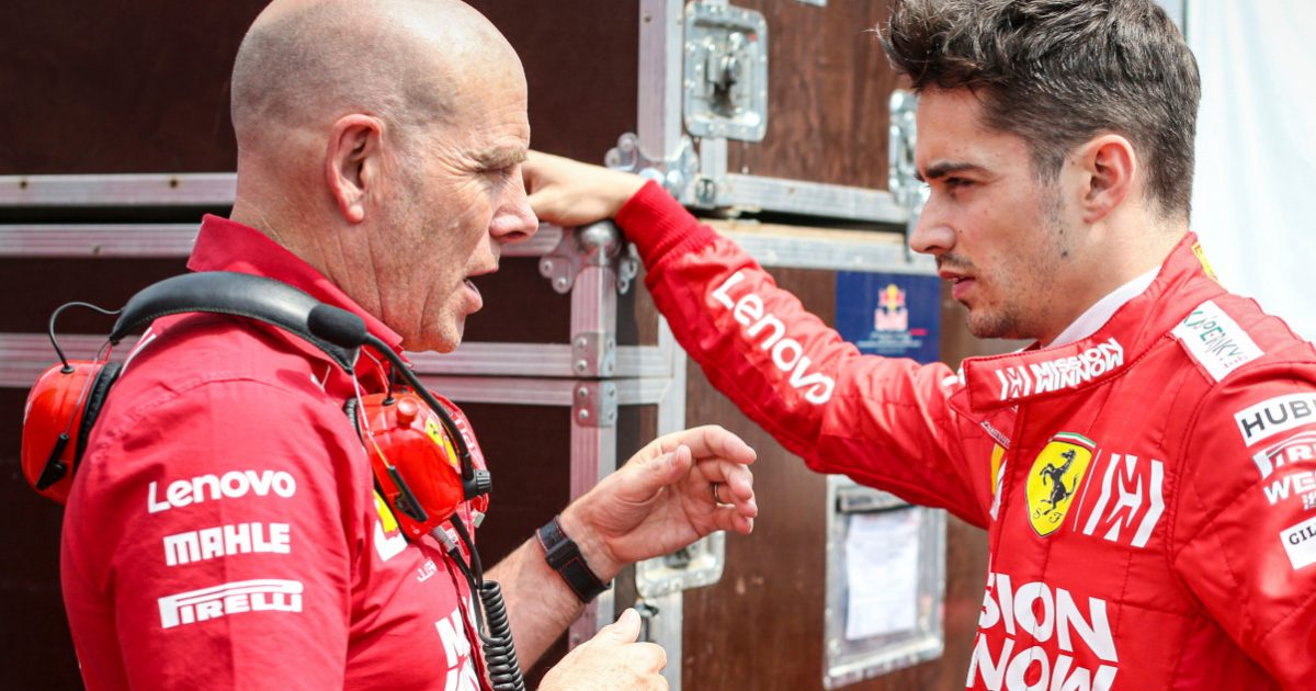 Charles Leclerc speaking with Jock Clear. Mexico October 2019.
