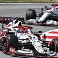Kimi Raikkonen ahead of Alfa Romeo team-mate Antonio Giovinazzi in the Spanish GP. Barcelona May 2021.