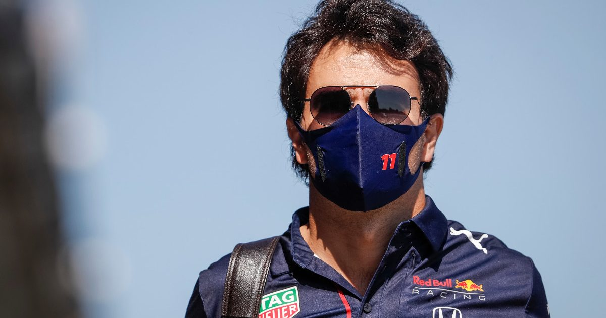 Sergio Perez arrives for the Hungarian Grand Prix. July, 2021.