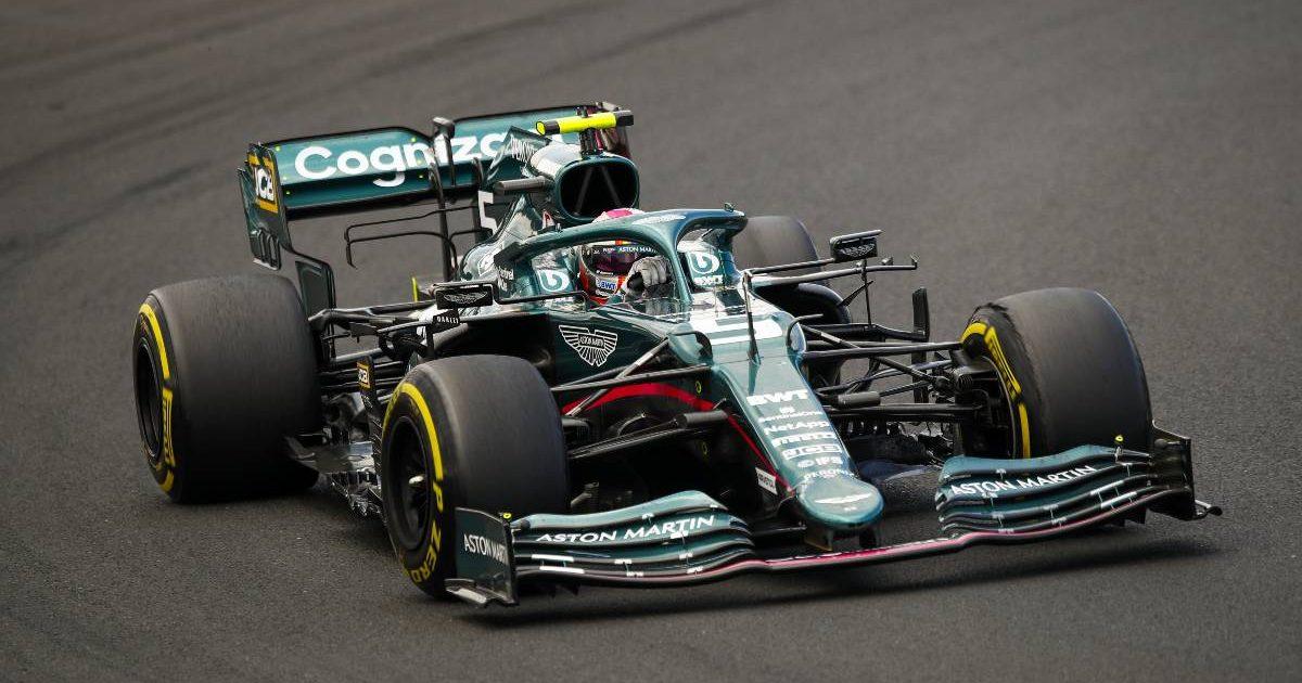 Sebastian Vettel in action for Aston Martin at Hungarian GP. Hungaroring August 2021.