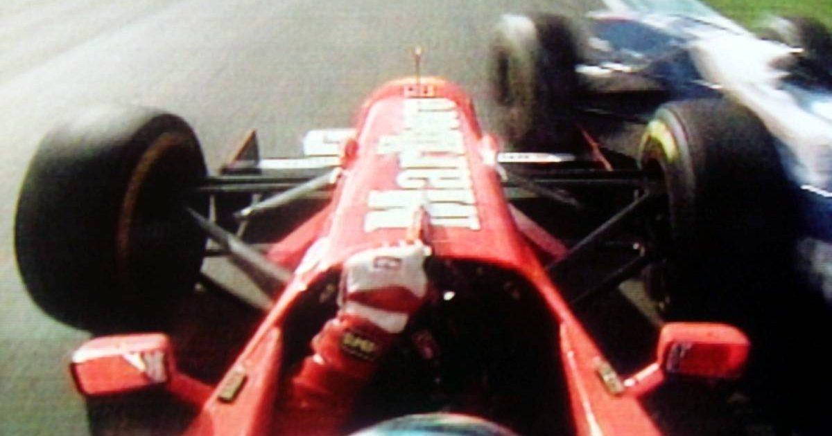 Michael Schumacher turns in on Jacques Villeneuve in the European Grand Prix. Jerez 1997.